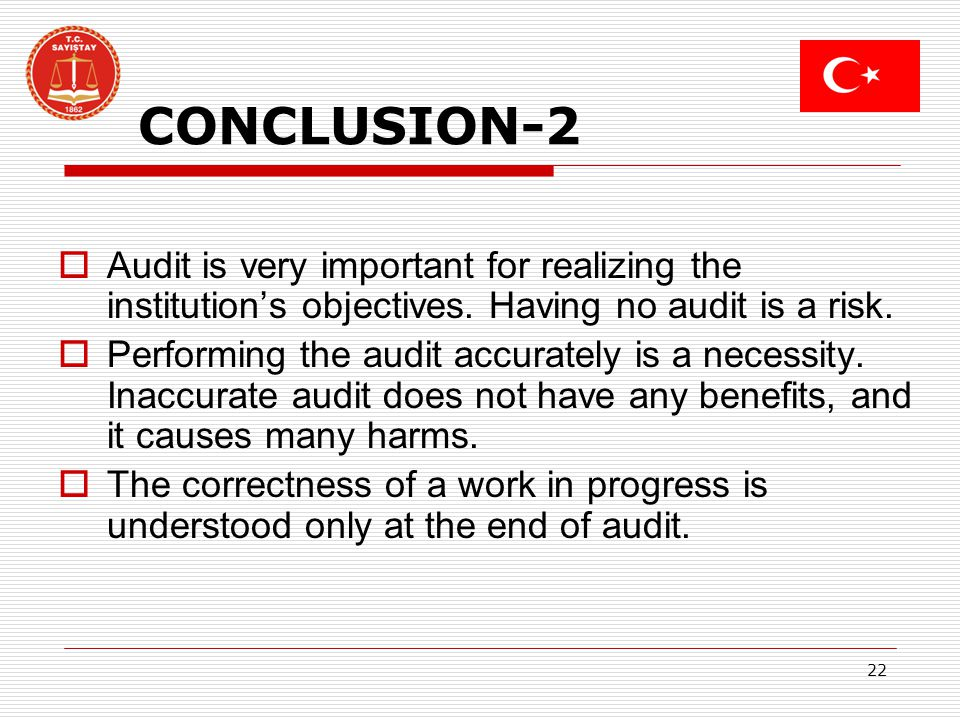 22 CONCLUSION-2 Audit is very important for realizing the institutions objectives.