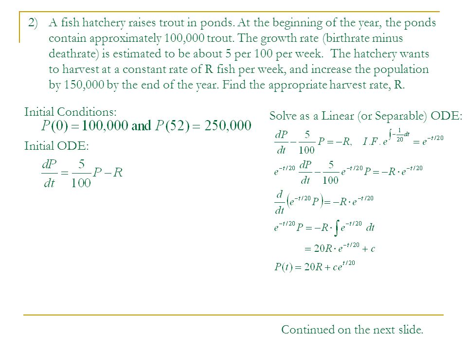 Math 2320 Differential Equations Worksheet #4. 1a) Model the growth ...