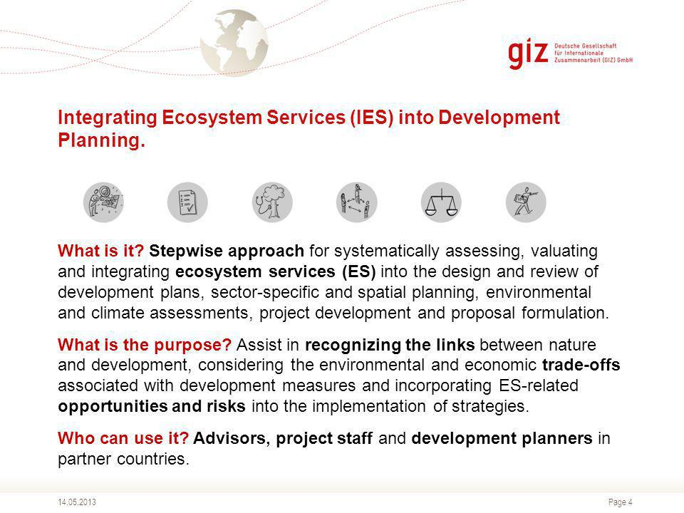 Page 1 The Ecosystem Services Approach and TEEB in the