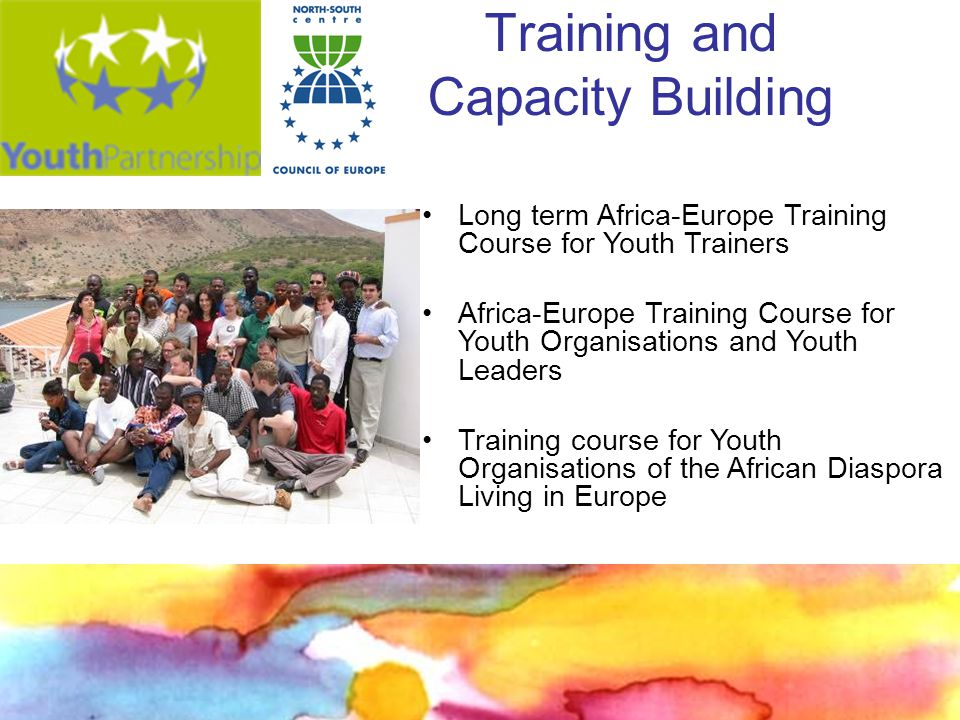Training and Capacity Building Long term Africa-Europe Training Course for Youth Trainers Africa-Europe Training Course for Youth Organisations and Youth Leaders Training course for Youth Organisations of the African Diaspora Living in Europe