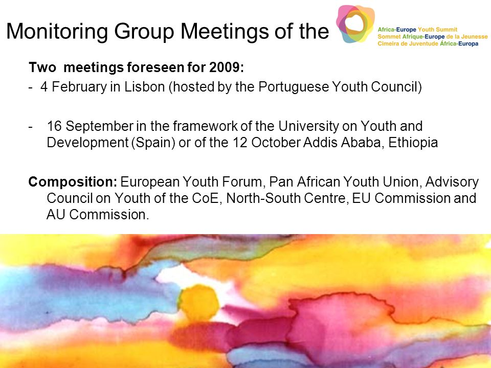 Monitoring Group Meetings of the Two meetings foreseen for 2009: - 4 February in Lisbon (hosted by the Portuguese Youth Council) -16 September in the framework of the University on Youth and Development (Spain) or of the 12 October Addis Ababa, Ethiopia Composition: European Youth Forum, Pan African Youth Union, Advisory Council on Youth of the CoE, North-South Centre, EU Commission and AU Commission.