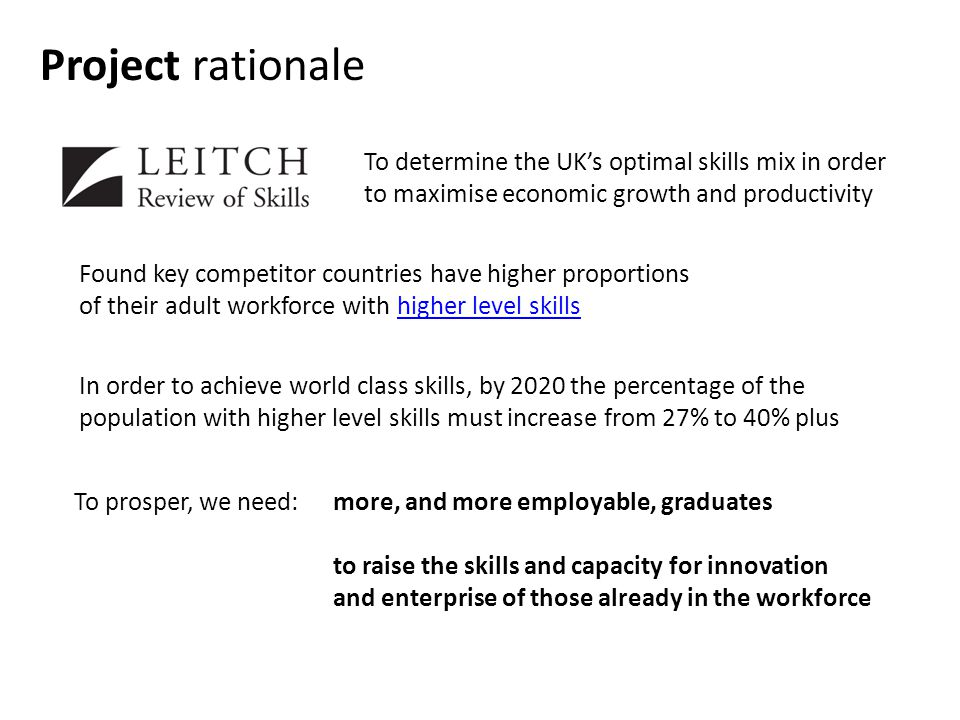 Project rationale To determine the UKs optimal skills mix in order to maximise economic growth and productivity Found key competitor countries have higher proportions of their adult workforce with higher level skillshigher level skills more, and more employable, graduates to raise the skills and capacity for innovation and enterprise of those already in the workforce To prosper, we need: In order to achieve world class skills, by 2020 the percentage of the population with higher level skills must increase from 27% to 40% plus