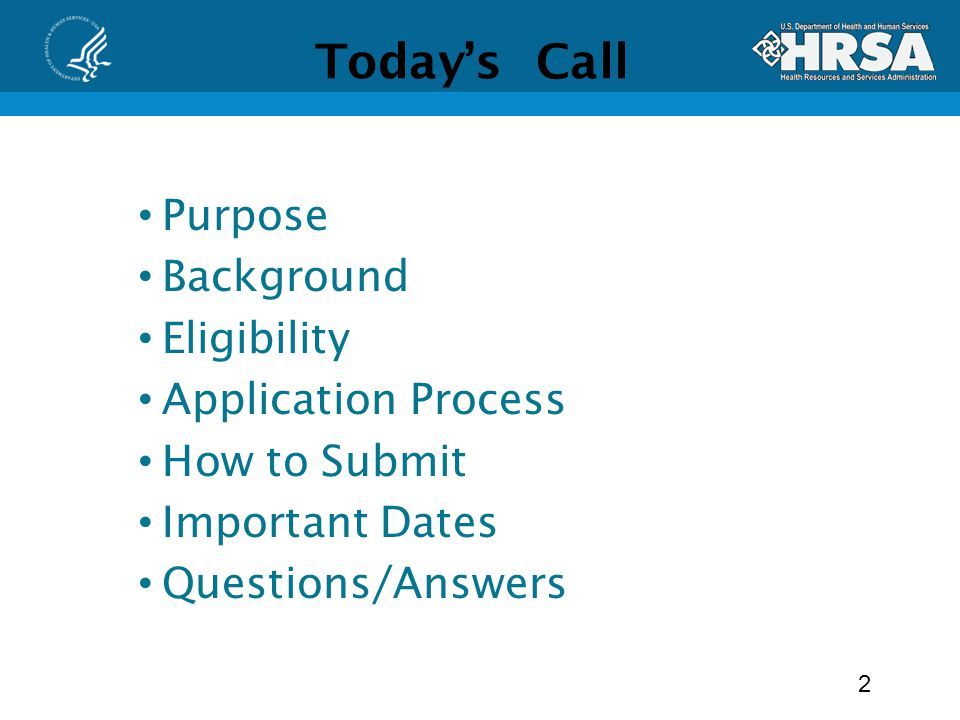 Todays Call Purpose Background Eligibility Application Process How to Submit Important Dates Questions/Answers 2