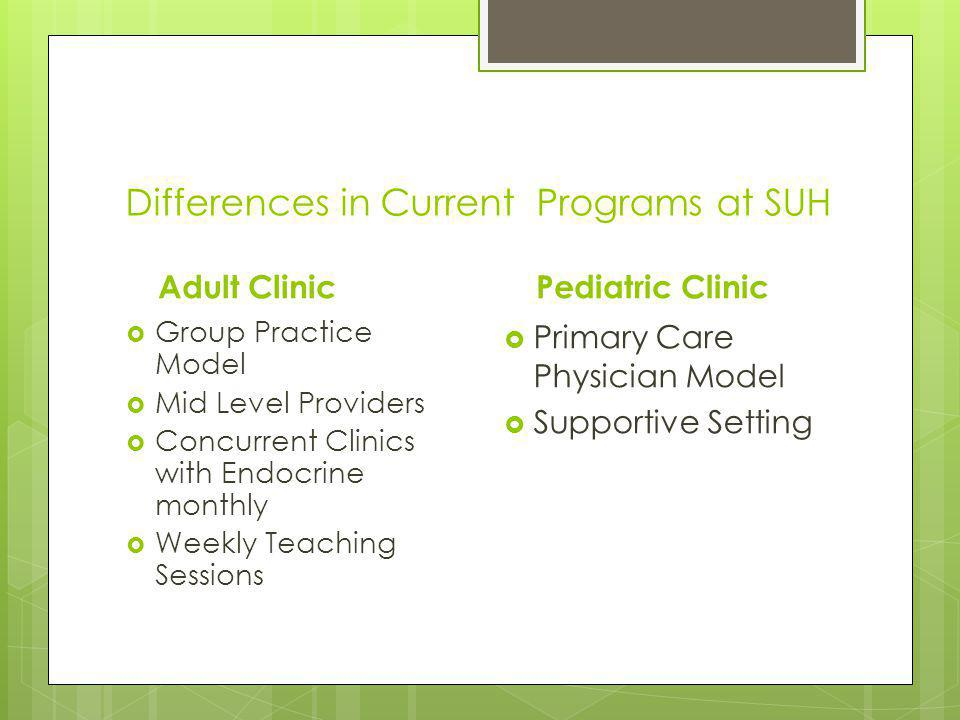 Differences in Current Programs at SUH Adult Clinic Group Practice Model Mid Level Providers Concurrent Clinics with Endocrine monthly Weekly Teaching Sessions Pediatric Clinic Primary Care Physician Model Supportive Setting