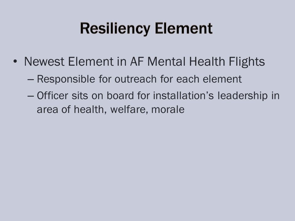 Newest Element in AF Mental Health Flights – – Responsible for outreach for each element – – Officer sits on board for installations leadership in area of health, welfare, morale