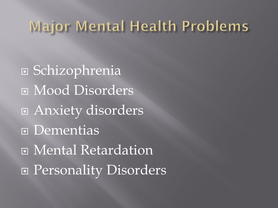 Schizophrenia Mood Disorders Anxiety disorders Dementias Mental Retardation Personality Disorders