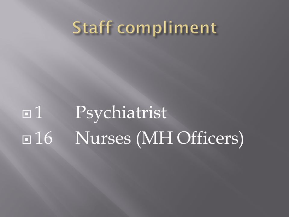 1Psychiatrist 16Nurses (MH Officers)
