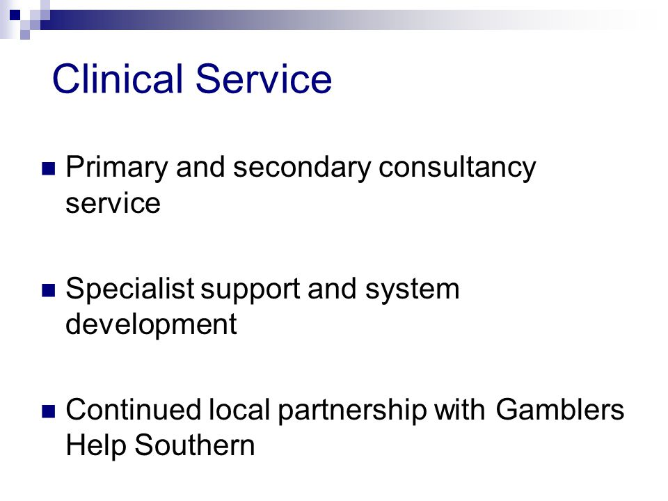 Clinical Service Primary and secondary consultancy service Specialist support and system development Continued local partnership with Gamblers Help Southern