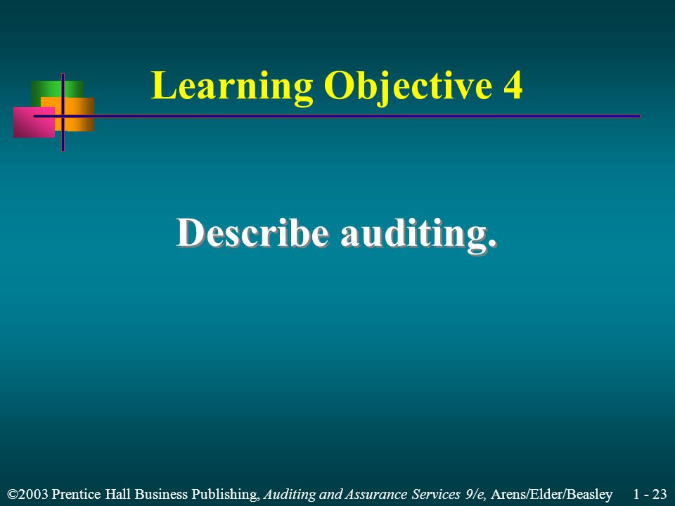 ©2003 Prentice Hall Business Publishing, Auditing and Assurance Services 9/e, Arens/Elder/Beasley Learning Objective 4 Describe auditing.