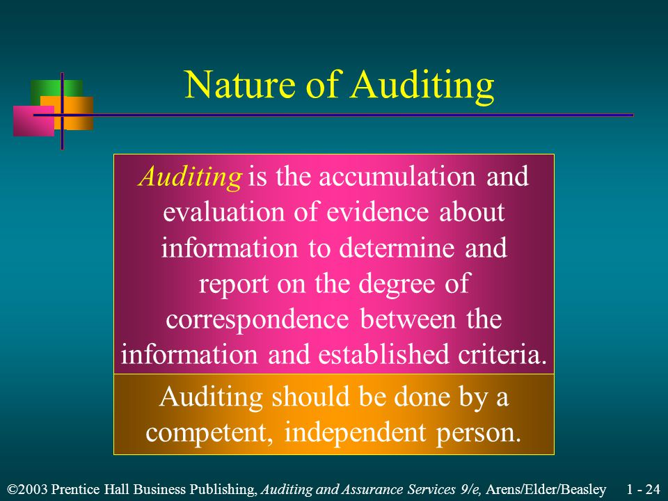 ©2003 Prentice Hall Business Publishing, Auditing and Assurance Services 9/e, Arens/Elder/Beasley Nature of Auditing Auditing is the accumulation and evaluation of evidence about information to determine and report on the degree of correspondence between the information and established criteria.