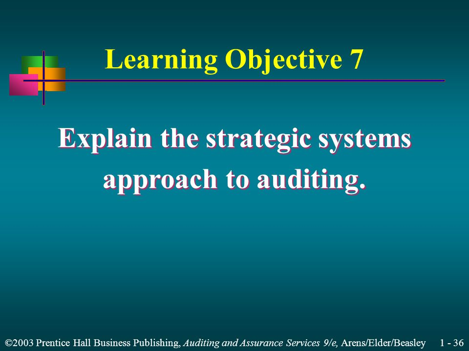 ©2003 Prentice Hall Business Publishing, Auditing and Assurance Services 9/e, Arens/Elder/Beasley Learning Objective 7 Explain the strategic systems approach to auditing.