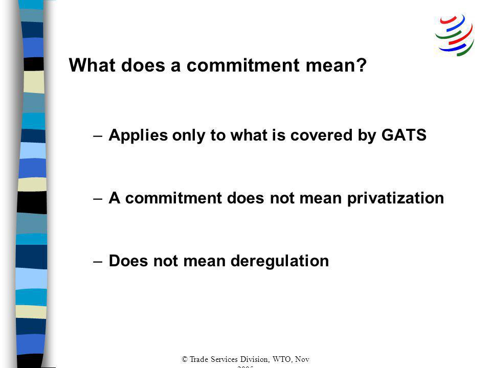 © Trade Services Division, WTO, Nov 2005 What does a commitment mean.