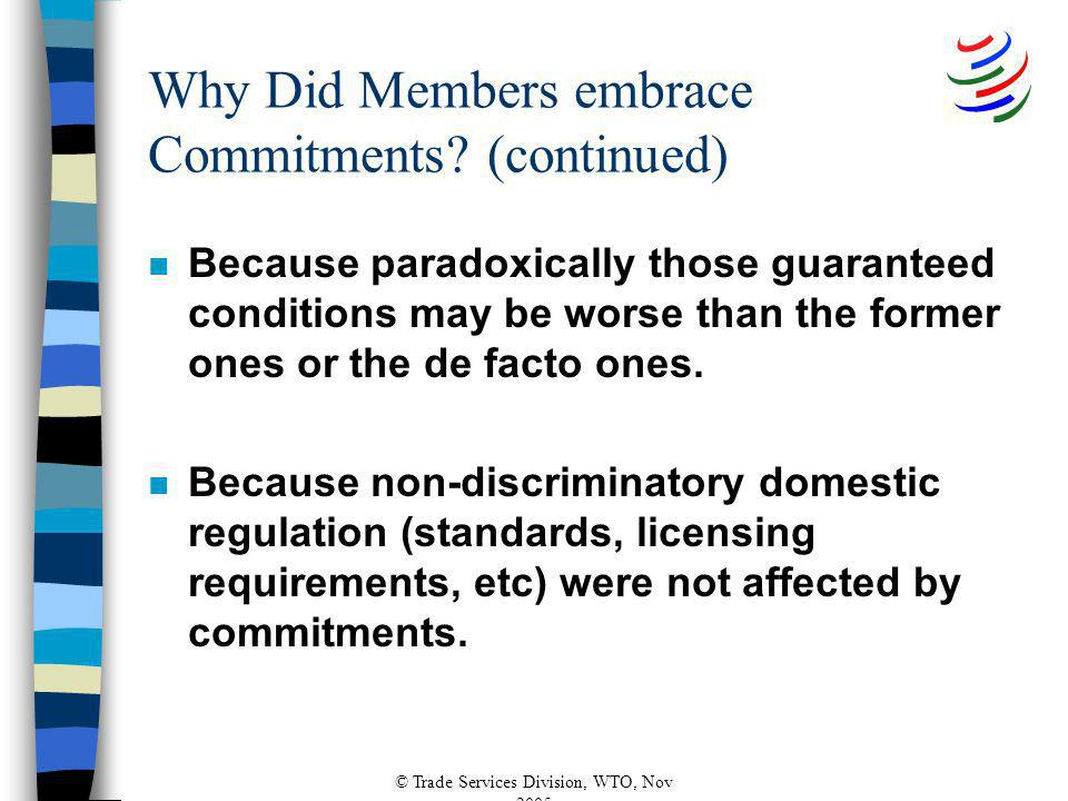 © Trade Services Division, WTO, Nov 2005 Why Did Members embrace Commitments.