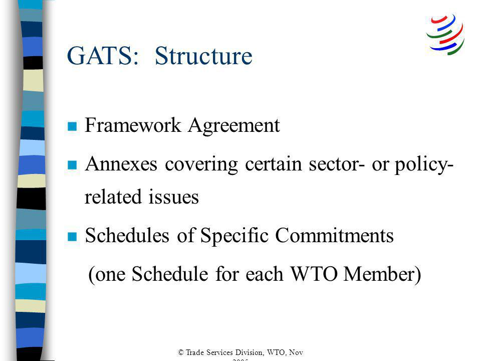 © Trade Services Division, WTO, Nov 2005 GATS: Structure n Framework Agreement n Annexes covering certain sector- or policy- related issues n Schedules of Specific Commitments (one Schedule for each WTO Member)