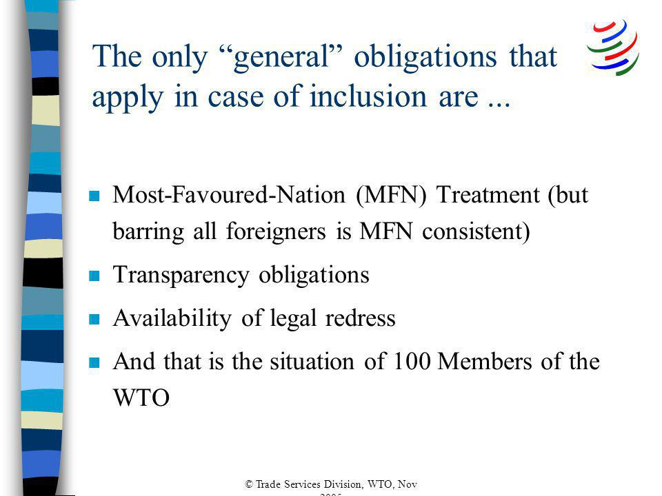 © Trade Services Division, WTO, Nov 2005 The only general obligations that apply in case of inclusion are...