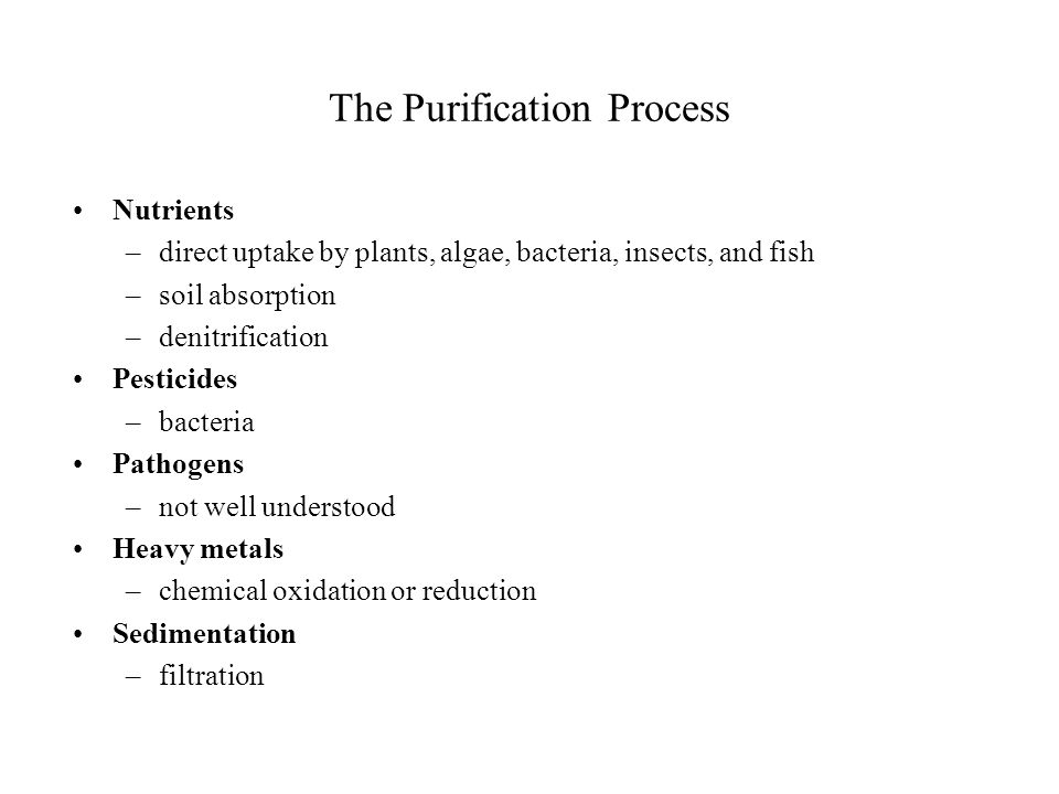 The Purification Process Nutrients –direct uptake by plants, algae, bacteria, insects, and fish –soil absorption –denitrification Pesticides –bacteria Pathogens –not well understood Heavy metals –chemical oxidation or reduction Sedimentation –filtration