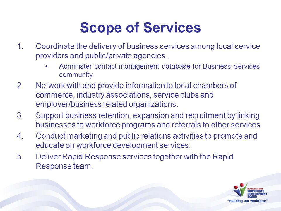 Scope of Services 1.Coordinate the delivery of business services among local service providers and public/private agencies.