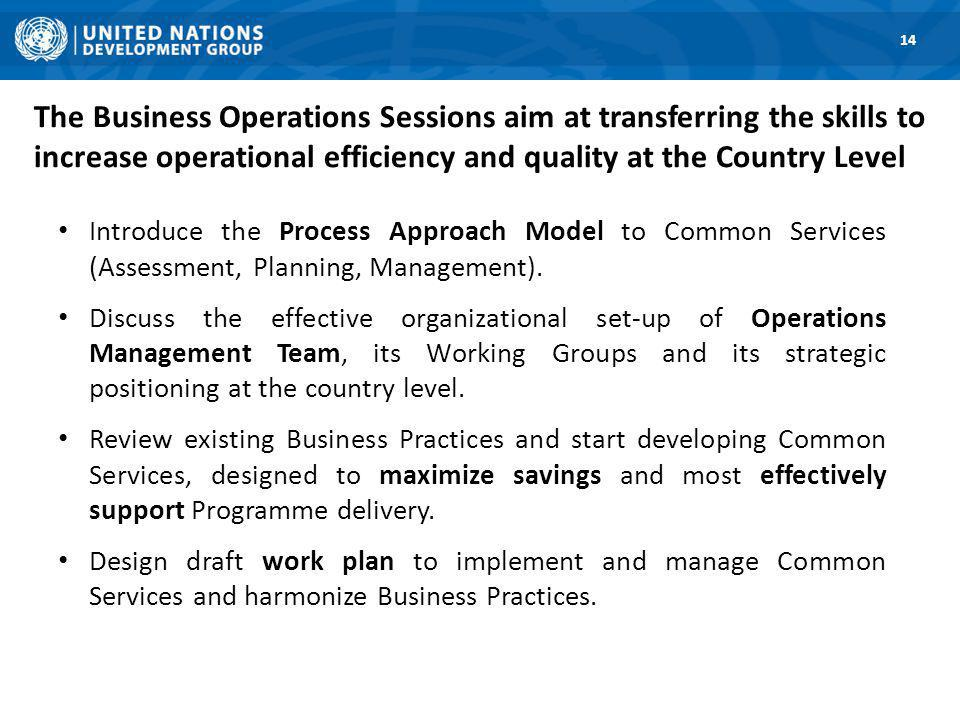 The Business Operations Sessions aim at transferring the skills to increase operational efficiency and quality at the Country Level Introduce the Process Approach Model to Common Services (Assessment, Planning, Management).