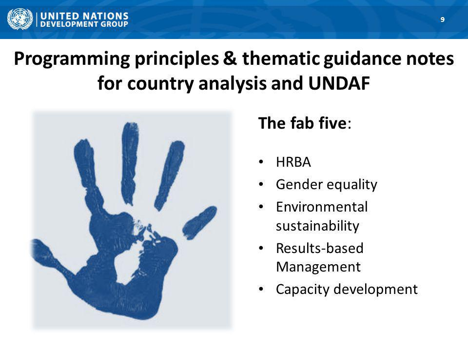 Programming principles & thematic guidance notes for country analysis and UNDAF 9 The fab five: HRBA Gender equality Environmental sustainability Results-based Management Capacity development