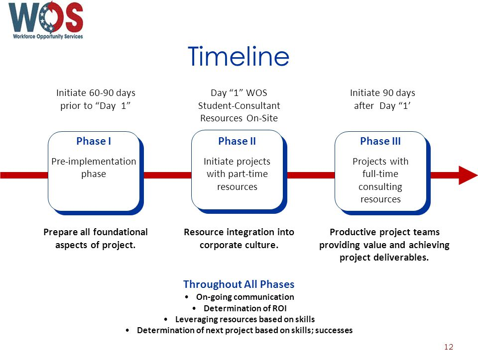Timeline Phase I Pre-implementation phase Phase II Initiate projects with part-time resources Phase III Projects with full-time consulting resources Prepare all foundational aspects of project.