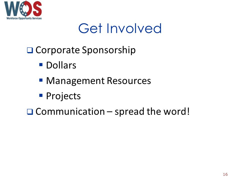 Get Involved Corporate Sponsorship Dollars Management Resources Projects Communication – spread the word.