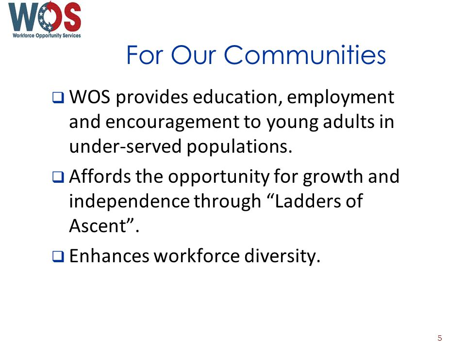 For Our Communities WOS provides education, employment and encouragement to young adults in under-served populations.