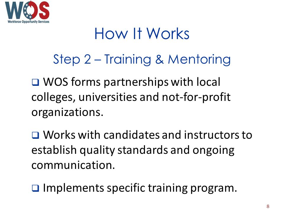 How It Works Step 2 – Training & Mentoring WOS forms partnerships with local colleges, universities and not-for-profit organizations.