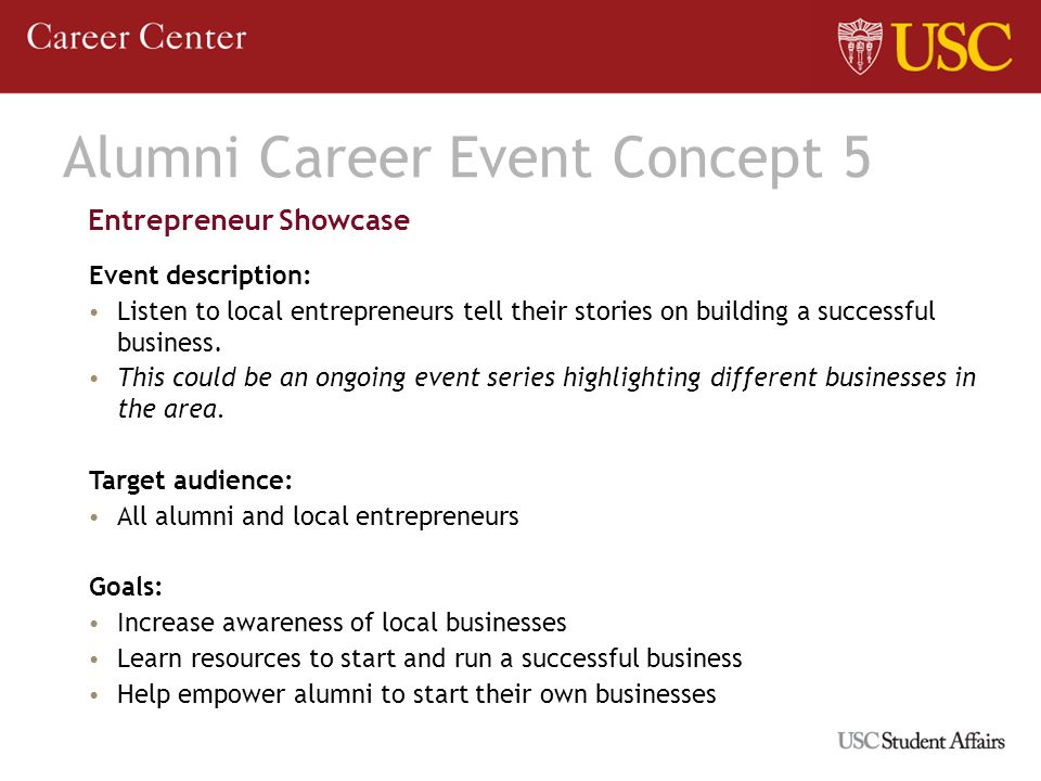 Alumni Career Event Concept 5 Entrepreneur Showcase Event description: Listen to local entrepreneurs tell their stories on building a successful business.