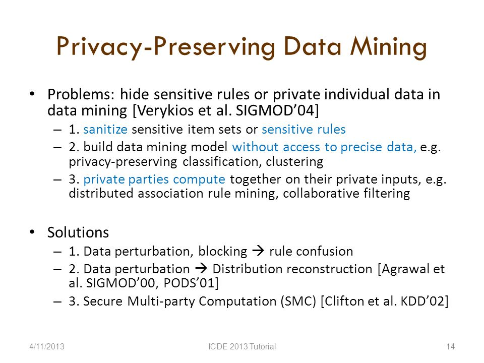 Privacy-Preserving Data Mining Problems: hide sensitive rules or private individual data in data mining [Verykios et al.