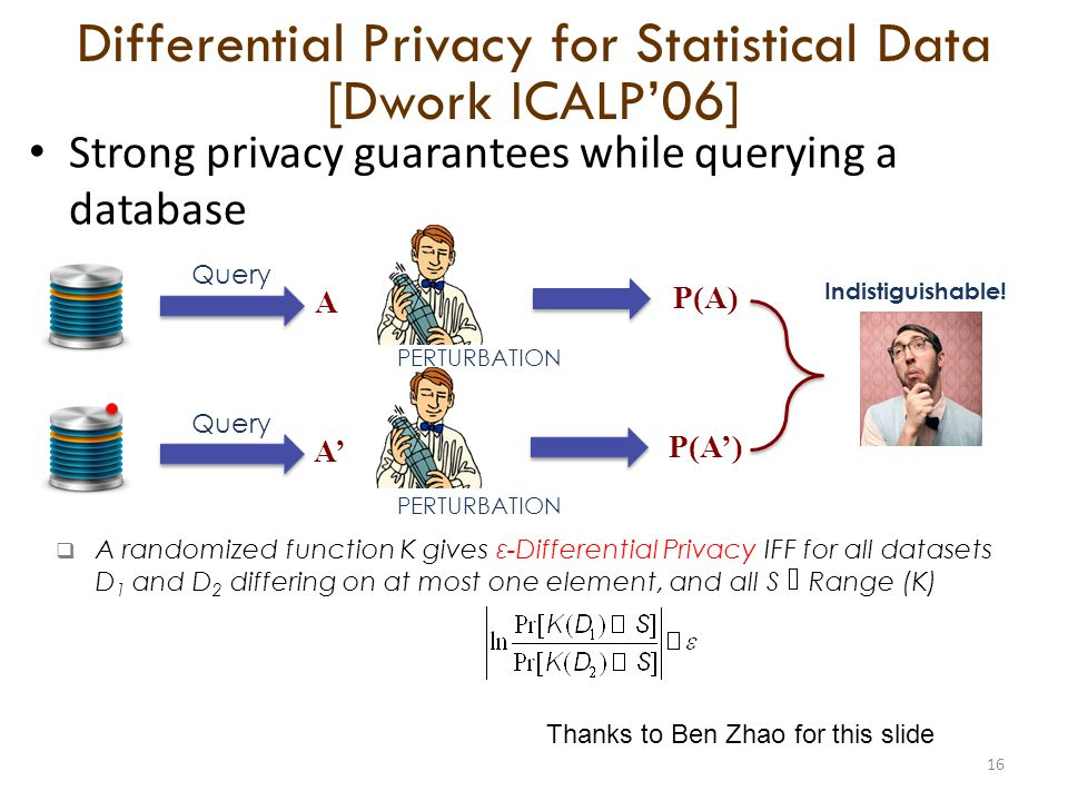 A randomized function K gives ε-Differential Privacy IFF for all datasets D 1 and D 2 differing on at most one element, and all S Range (K) Strong privacy guarantees while querying a database 16 Query A PERTURBATION P(A) Query A PERTURBATION P(A) Indistiguishable.