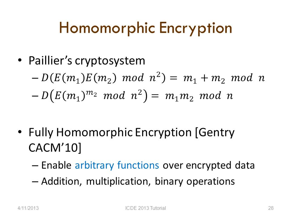 Homomorphic Encryption 4/11/2013ICDE 2013 Tutorial28
