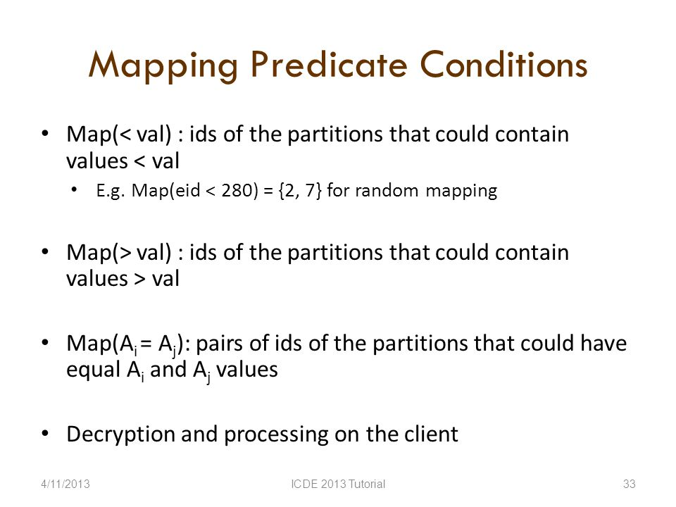 Mapping Predicate Conditions Map(< val) : ids of the partitions that could contain values < val E.g.