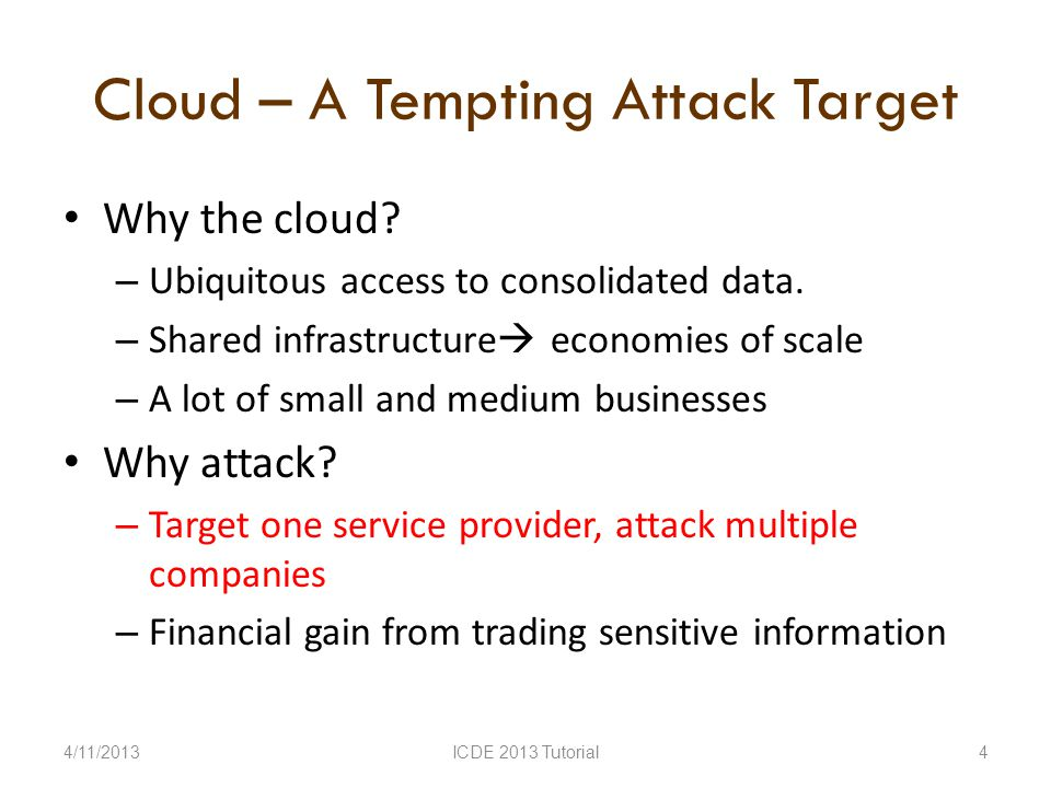 Cloud – A Tempting Attack Target Why the cloud. – Ubiquitous access to consolidated data.