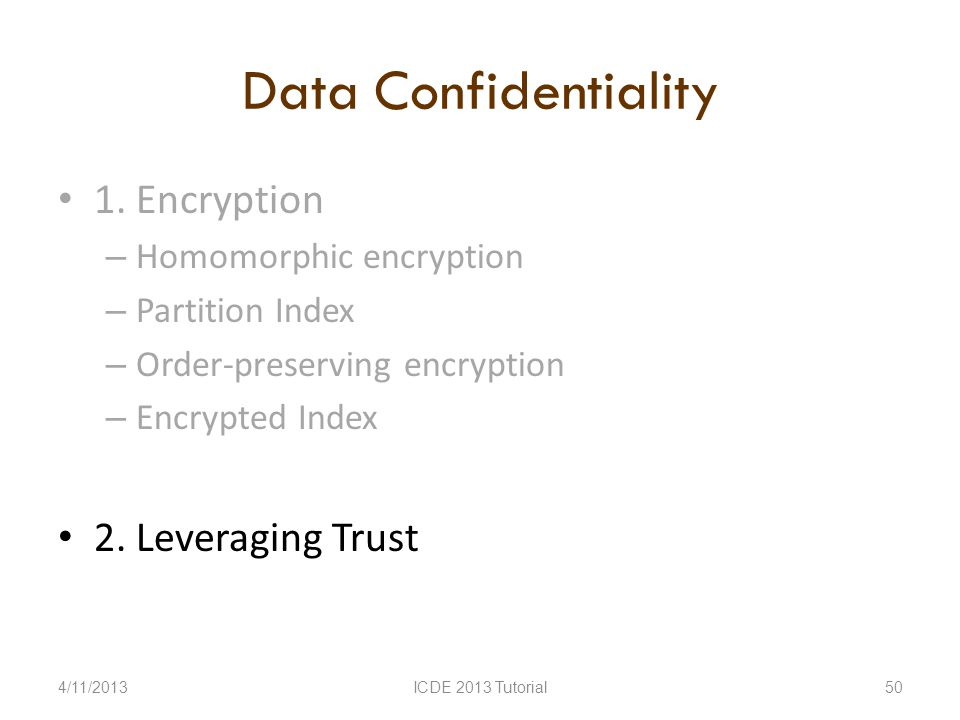 Data Confidentiality 1.