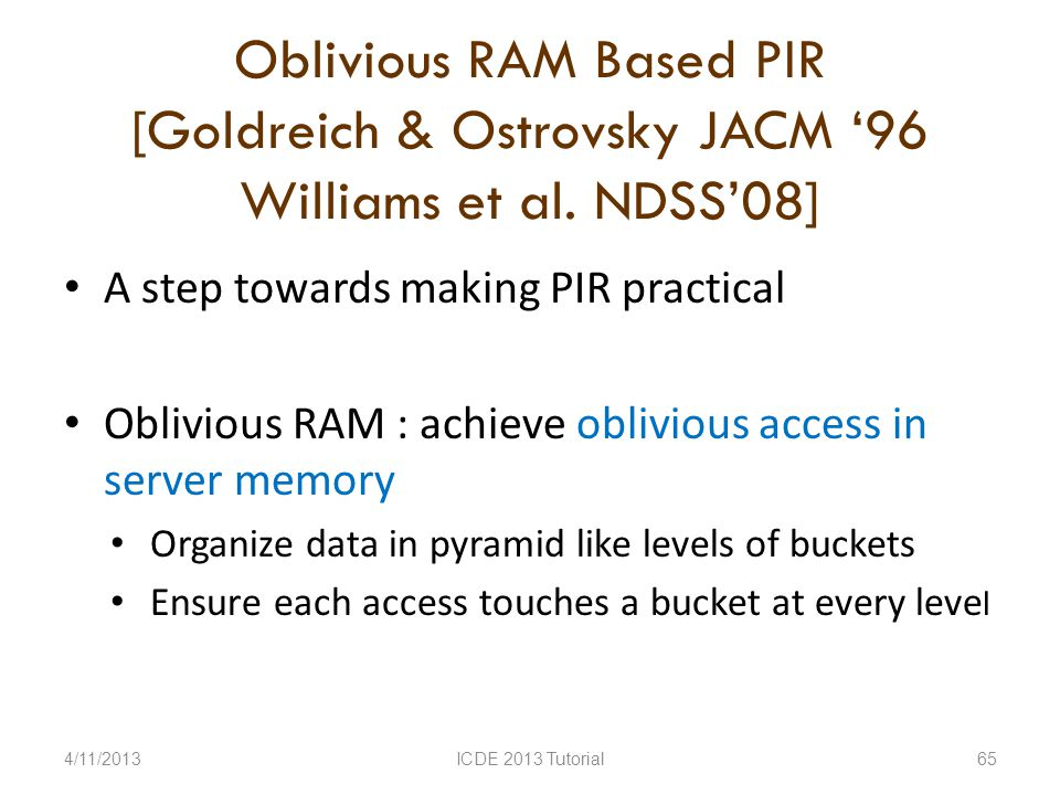 Oblivious RAM Based PIR [Goldreich & Ostrovsky JACM 96 Williams et al.