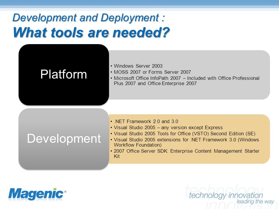 Development and Deployment : What tools are needed.