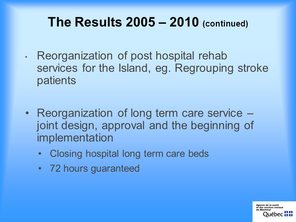 The Results 2005 – 2010 (continued) Reorganization of post hospital rehab services for the Island, eg.