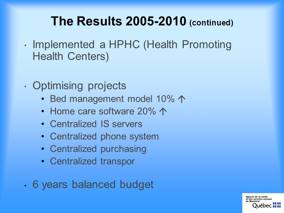 The Results (continued) Implemented a HPHC (Health Promoting Health Centers) Optimising projects Bed management model 10% Home care software 20% Centralized IS servers Centralized phone system Centralized purchasing Centralized transpor 6 years balanced budget