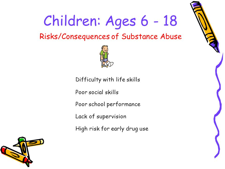 Children: Ages Difficulty with life skills Risks/Consequences of Substance Abuse Poor social skills Poor school performance Lack of supervision High risk for early drug use
