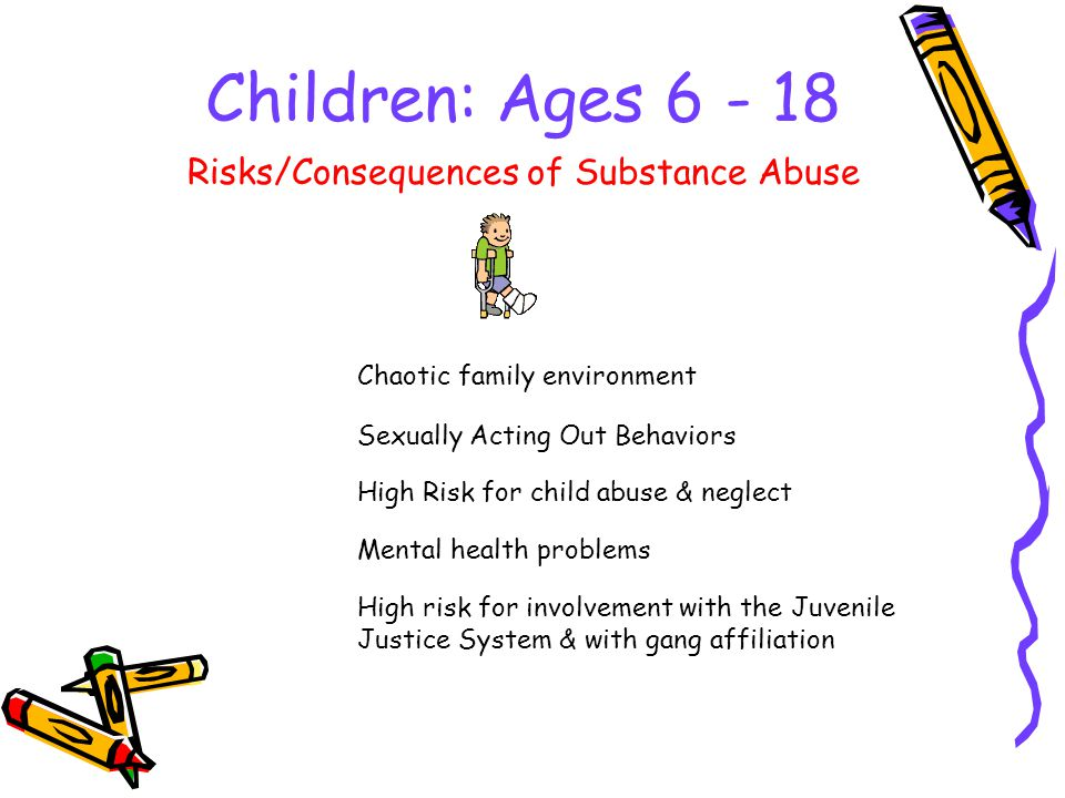 Children: Ages Chaotic family environment Risks/Consequences of Substance Abuse Sexually Acting Out Behaviors High Risk for child abuse & neglect Mental health problems High risk for involvement with the Juvenile Justice System & with gang affiliation