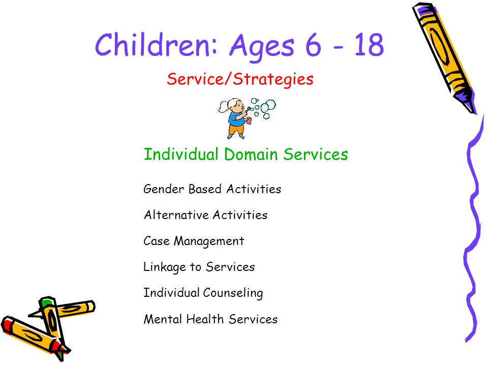 Children: Ages Individual Domain Services Service/Strategies Gender Based Activities Alternative Activities Case Management Linkage to Services Individual Counseling Mental Health Services