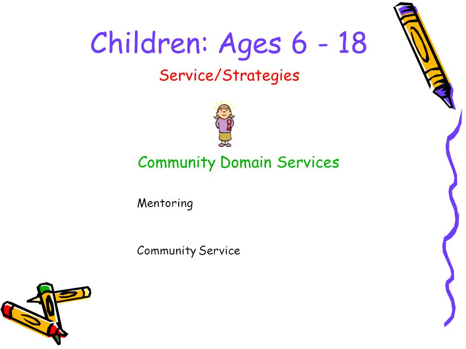 Children: Ages Community Domain Services Service/Strategies Mentoring Community Service