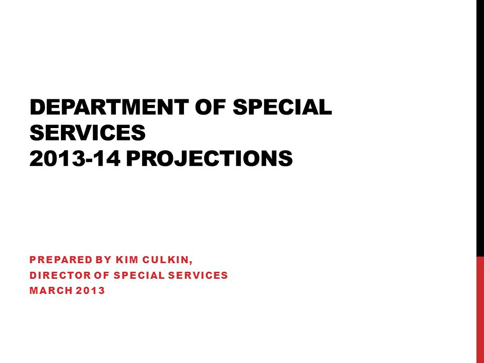 DEPARTMENT OF SPECIAL SERVICES PROJECTIONS PREPARED BY KIM CULKIN, DIRECTOR OF SPECIAL SERVICES MARCH 2013