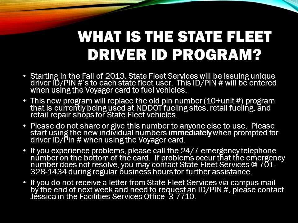 WHAT IS THE STATE FLEET DRIVER ID PROGRAM.