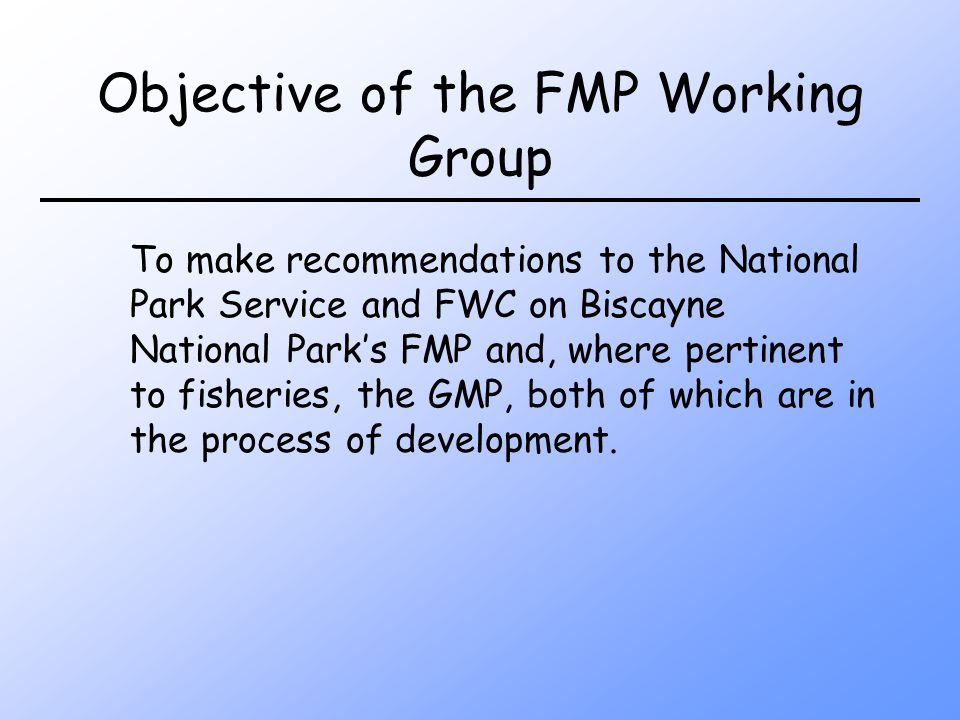 Objective of the FMP Working Group To make recommendations to the National Park Service and FWC on Biscayne National Parks FMP and, where pertinent to fisheries, the GMP, both of which are in the process of development.