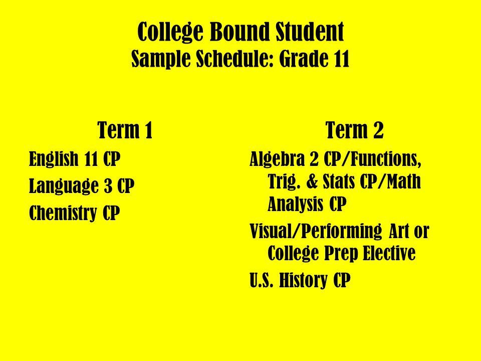 College Bound Student Sample Schedule: Grade 10 Term 1 English 10 CP Language 2 CP Biology CP Term 2 Geometry CP/Algebra 2CP PE or VPA World History CP