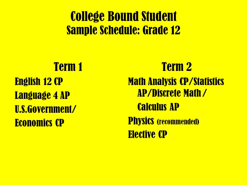 College Bound Student Sample Schedule: Grade 11 Term 1 English 11 CP Language 3 CP Chemistry CP Term 2 Algebra 2 CP/Functions, Trig.