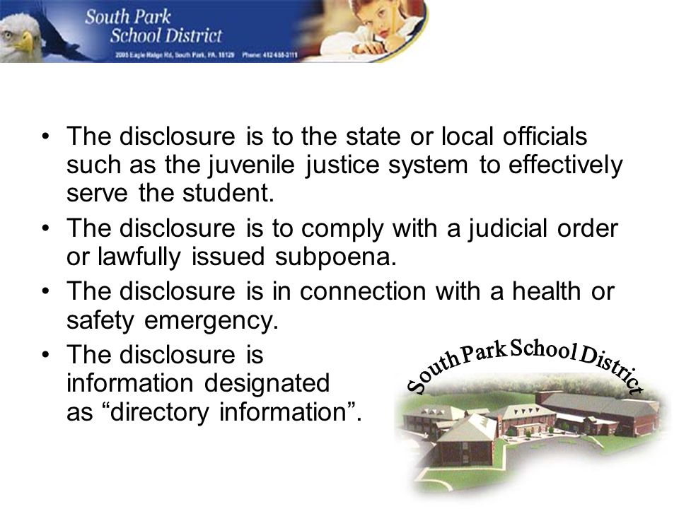 The disclosure is to the state or local officials such as the juvenile justice system to effectively serve the student.