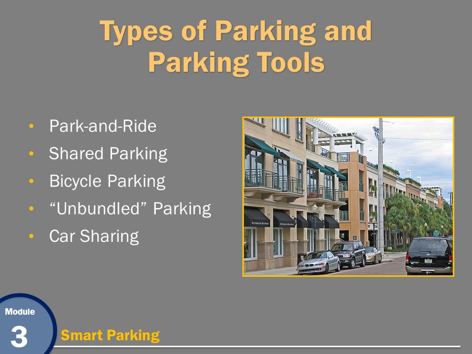 Module 3 Smart Parking Types of Parking and Parking Tools Park-and-Ride Shared Parking Bicycle Parking Unbundled Parking Car Sharing