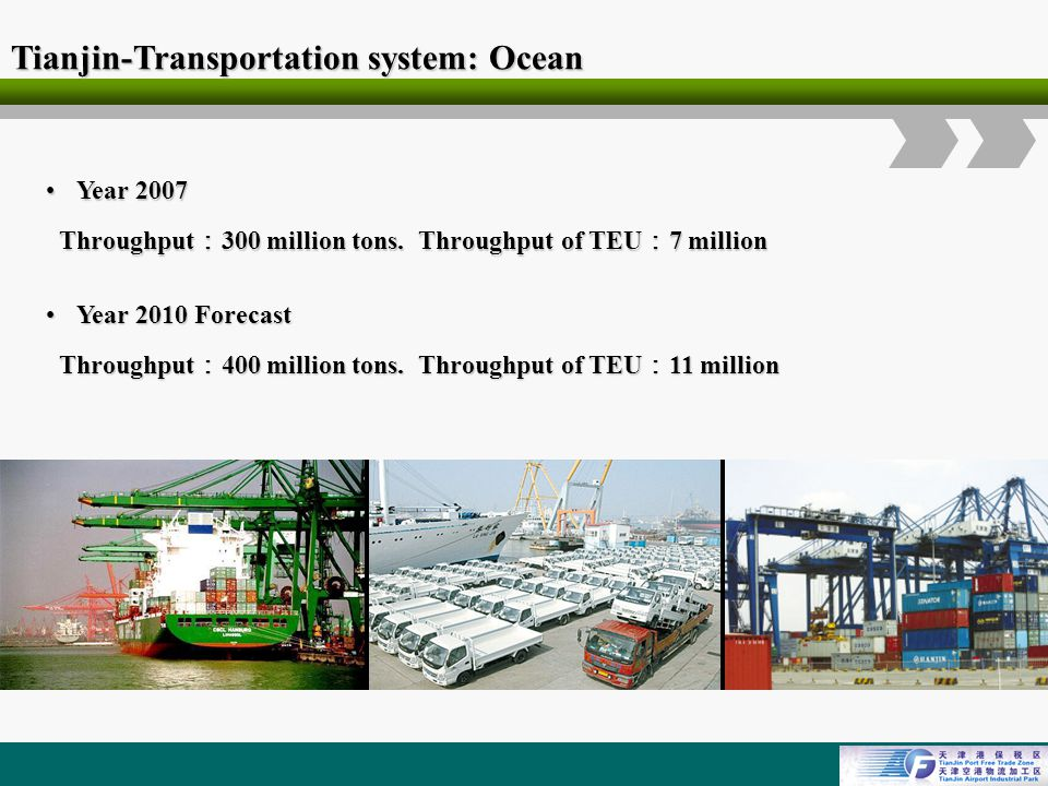 Logo Tianjin-Transportation system: Ocean Year 2007Year 2007 Throughput 300 million tons.
